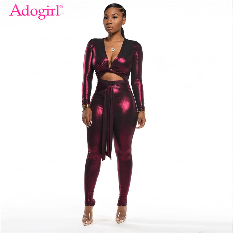 Adogirl Shiny Night Club Party Two Piece Set Women Sexy V Neck Long Sleeve Twist Crop Top Front Tie Skinny Pants Fashion Suits
