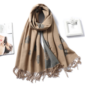Image 5 - Brand Designer Winter Scarf for Women Classic Floral Print Shawls and Wrap Thick Warm Pashmina Fashion Tassels Cashmere Scarves