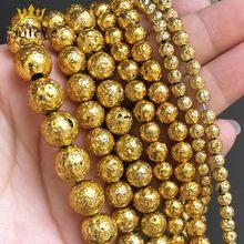 Grânulos De Pedra naturais Ouro Rocha Vulcânica Lava Rodada Beads Para Fazer Jóias DIY Pulseira Acessórios de 15 ''4 Pregos Orelha /6/8/10mm