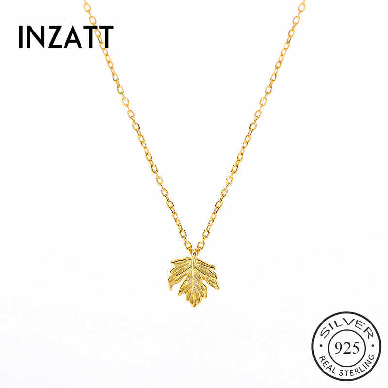 INZATT Real 925 Sterling Silver Gold Leaves Pendant Choker Necklace For Fashion Women Party Fine Jewelry 2019 Accessories GIft