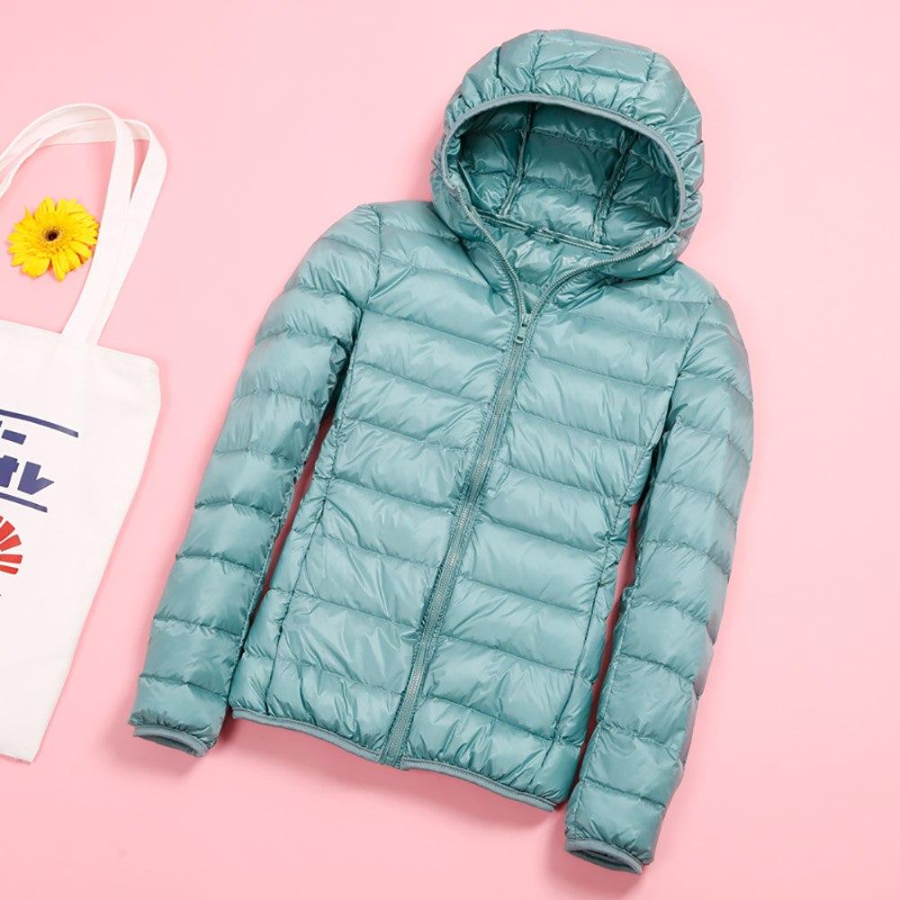 Women   Jacket   Winter Autumn UltraLight Hooded Down Duck Down Coat   Basic     Jackets   Long Sleeve Slim Warm Parka Female Outwear Pink
