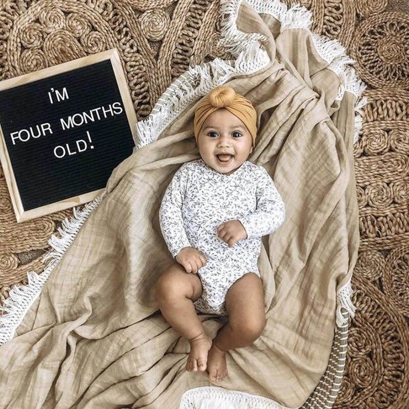 Newborn Swaddle Muslin Unisex Solid Tassel Baby Blanket Receiving Blanket Swaddle Wrap Blanket
