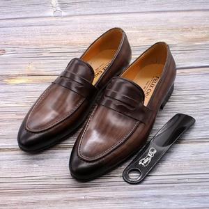 Image 5 - פליקס CHU גברים סירה עור נעלי עור אמיתי אלגנטי מסיבת חתונה מקרית Mens שמלת נעלי חום יד צבוע דירות