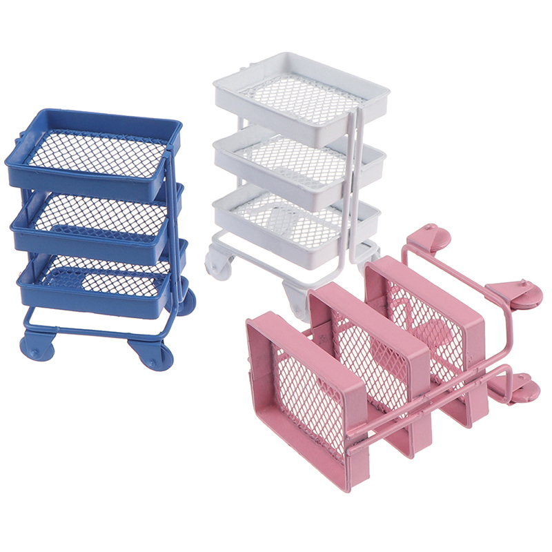 1:12 Dollhouse Miniature Shelf Bookshelf With Wheels Storage Display Rack Dollhouse Furniture Accessories