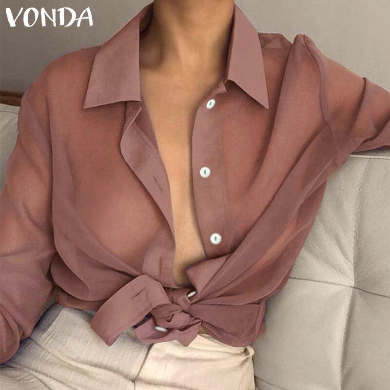 VONDA Women Sexy Lapel Neck Long Sleeve Blouse Plus Size Transparent See Through Top 2019 Spring Summer Beach Wear Office Shirt