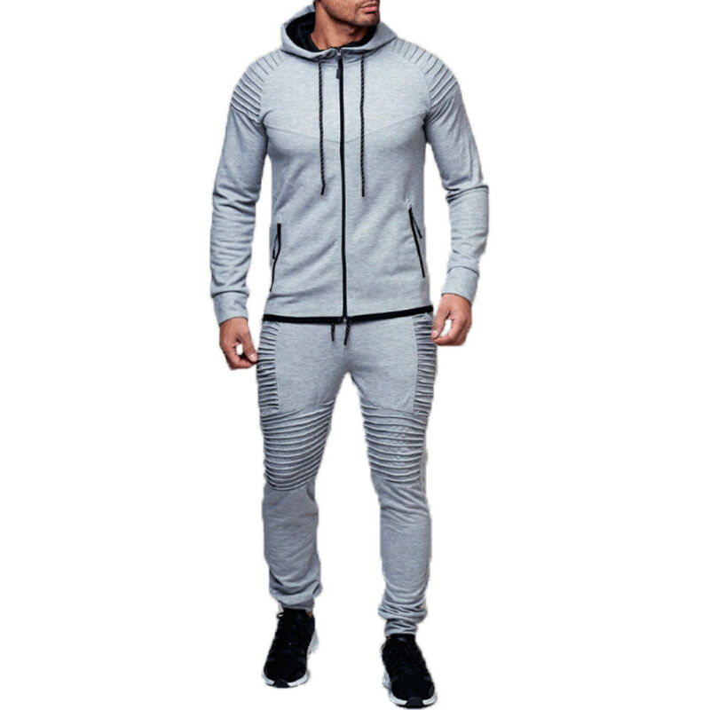 2 PC Zipper Men Tracksuit Sport Set With Pockets Jogging Athletic Plain Jacket+Pants Men Autumn Track Suit Sweatsuit Hot Sale