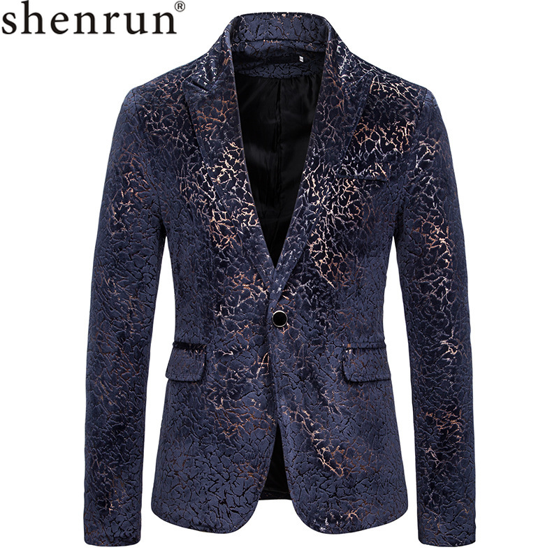 Shenrun Men Blazer Jackets Navy Blue Red Wedding Groom Suit Jacket Party Prom Singer Host Stage Costumes Fashion Youth Blazers