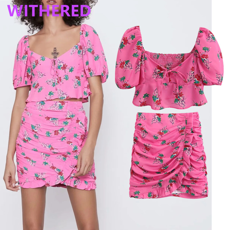 Withered England High Street Floral Square Collar Short Summer Blouse Women Blusas Cascading Mini Skirt Women Faldas 2 Piece Set