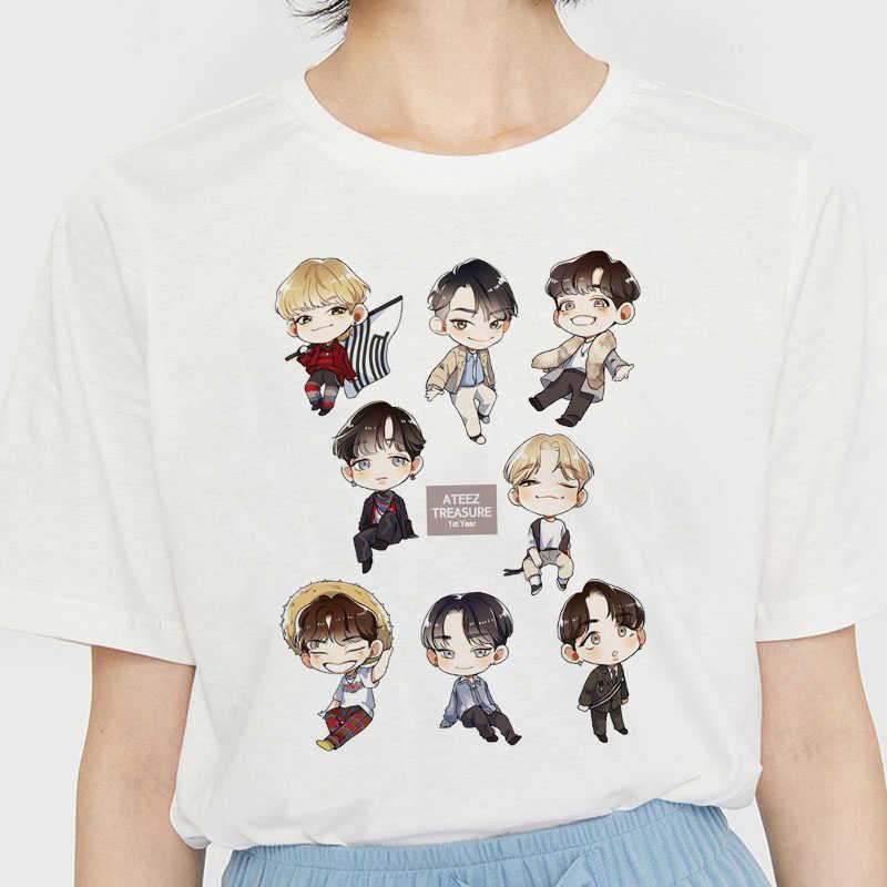 ATEEZ Kpop กลุ่มชายเกาหลีสไตล์ Kawaii พิมพ์เสื้อยืดสีขาวความงามเสื้อผ้าฤดูร้อนผู้หญิงแฟชั่นแขนสั้น E GIRL TOP