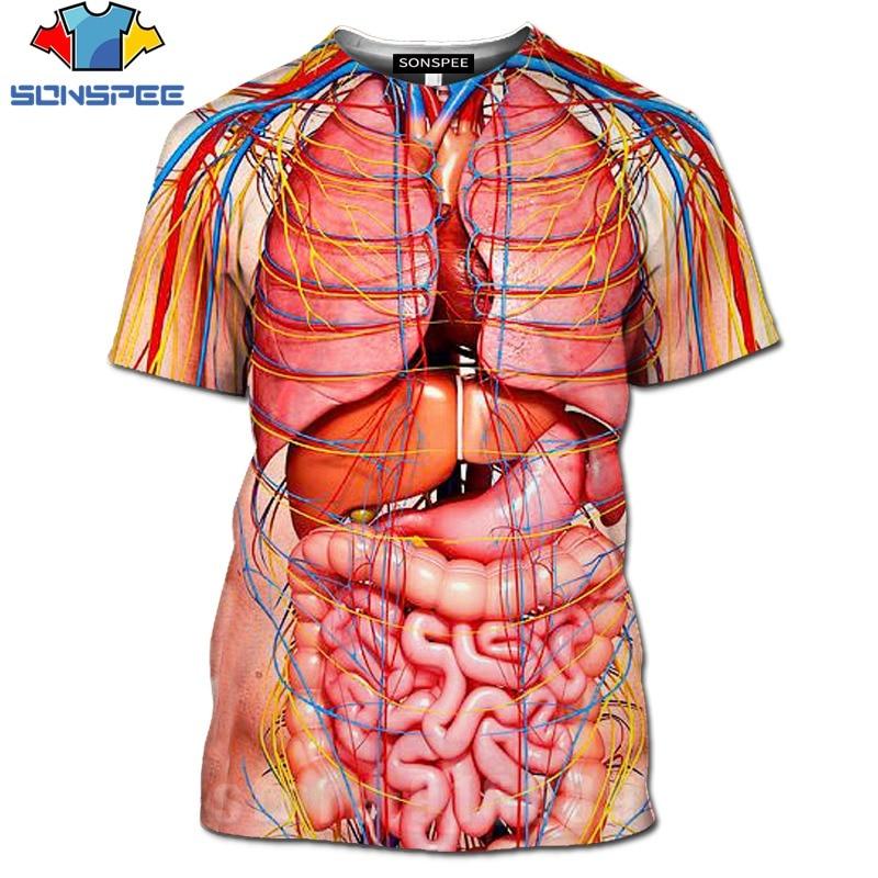 Impressão 3d cosplay masculino esqueleto órgãos internos tshirt harajuku corpo humano camiseta das mulheres dos homens moda t camisa verão manga curta