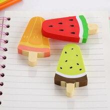 15pcs/lot Lovely Watermelon Kiwi Popsicle Design  Pencil Rubber Eraser Student Prizes Gift School Supply