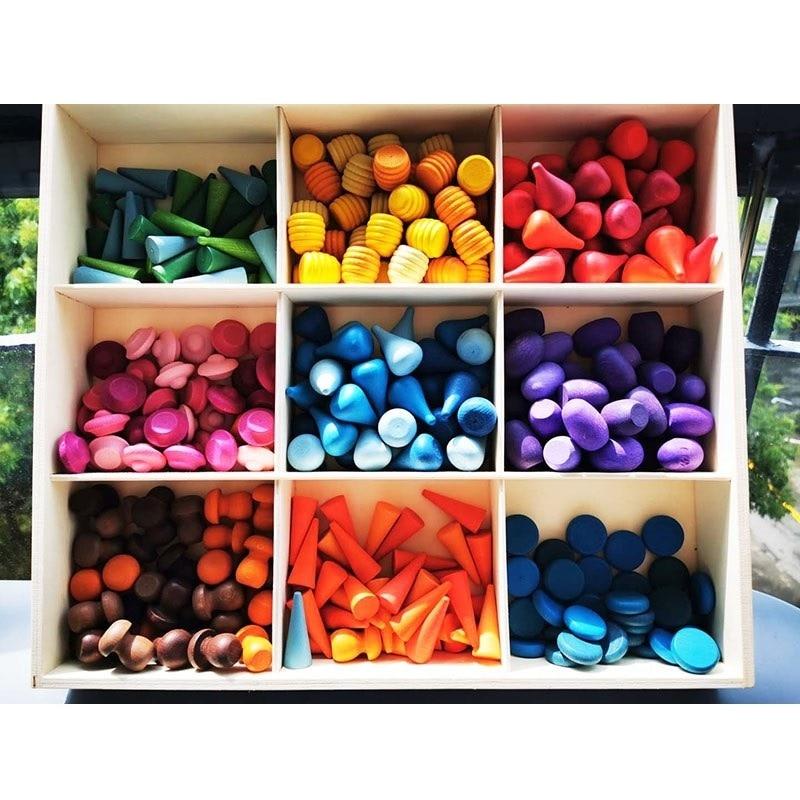 Kids Wooden Toys Rainbow Block Loose Parts Mushroom Honeycomb Droplets Tree Cones Cones Creative Building Blocks For Children