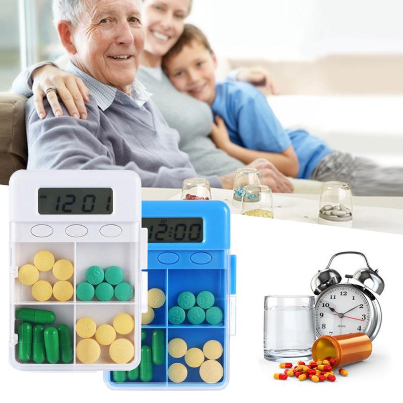 4 Grid Intelligent Plastic Storage Box Electronic Timing Reminder Medicine Boxes Alarm Timer Pills Box Organizer Pill Container