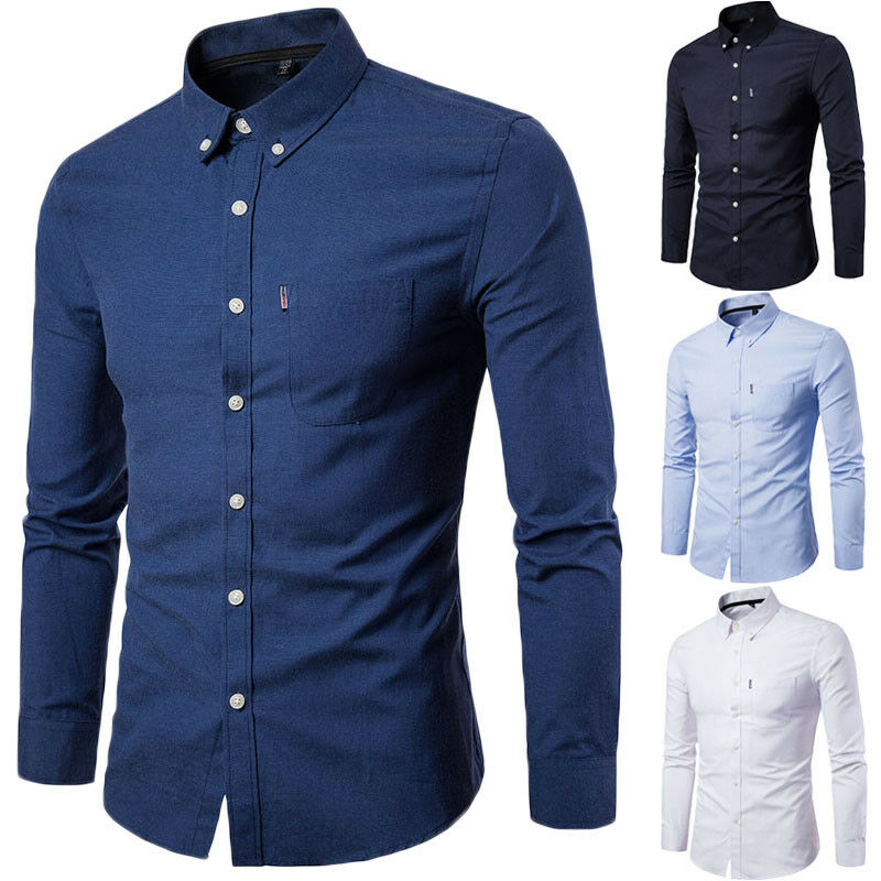New Mens Long Sleeve Shirt Button Up Business Work Smart Formal Dress Shirts Top Fashion Male Slim Fit Casual Shirt Tops