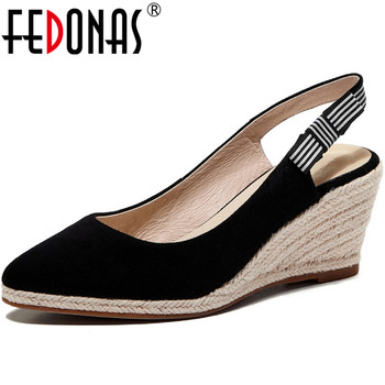 FEDONAS Classic Wedge Platform High Heels Sandals Women Butterfly Knot Pumps Spring Summer  2020 Sexy Sheepskin Shoes Woman
