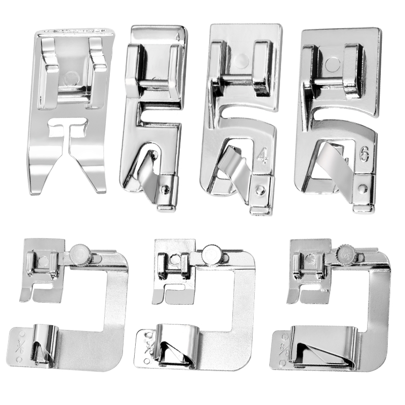 LMDZ 7 Pcs Hemming Foot Kit Straight Stitch Presser Foot Suitable for Household Multi-Function Sewing Machines Hand Tool