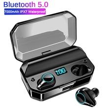 T9 tws bluetooth v5.0 fone de ouvido 9d estéreo x6 fones de ouvido sem fio ipx7 à prova dwaterproof água 7000mah led smart power bank suporte do telefone