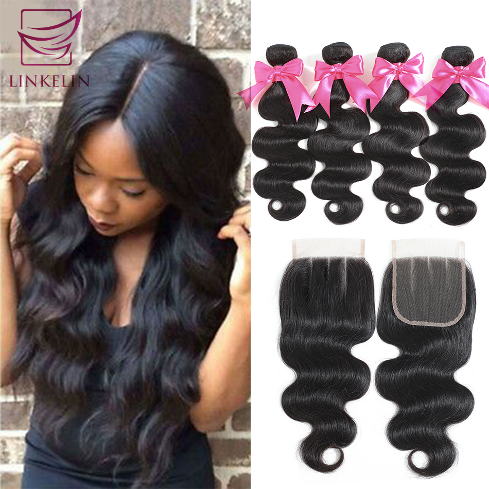 LINKELIN Brazilian Body Wave Bundles With Closure 100% Human Hair Bundles With Closure Remy 4 Bundles With Closure