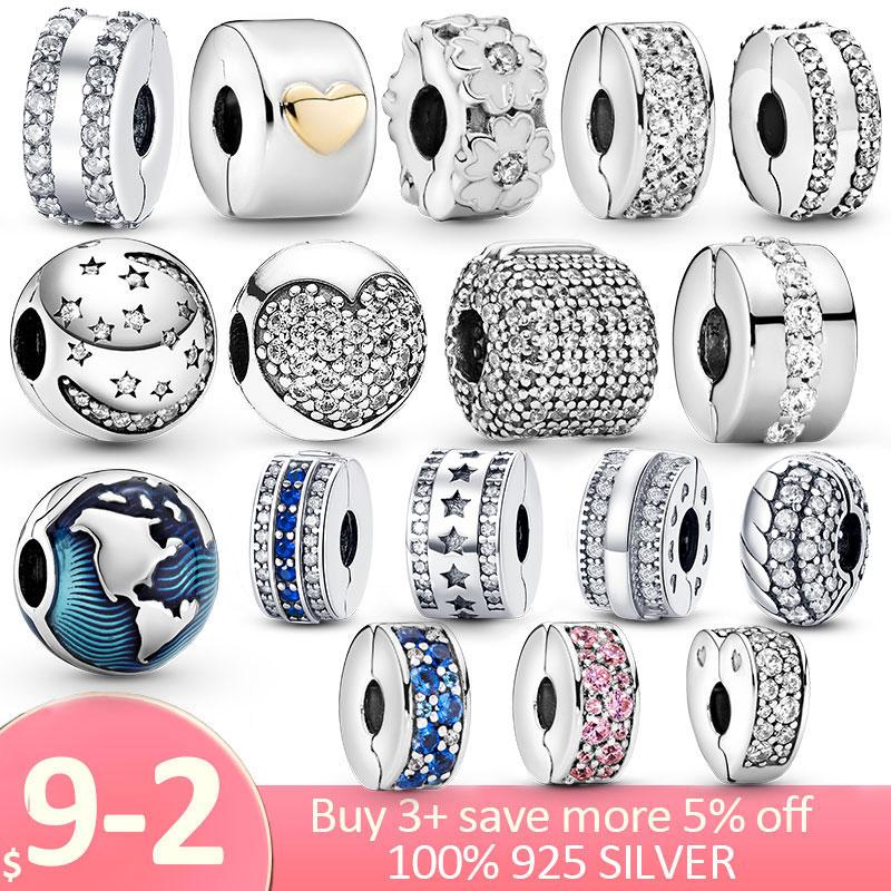 Clip 925 Sterling Silver CZ pave Pattern Star Heart Zircon Clip Charm Beads Stopper fit Pandora Bracelet Silver 925 Jewelry