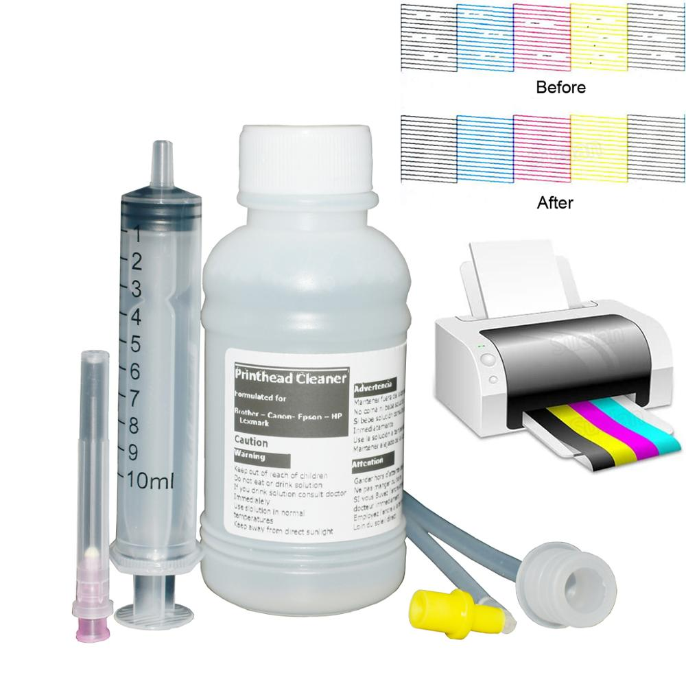 Printhead Cleaning Kit for Epson Canon Brother Lexmark Hp Printhead Cleaning Liquid for Sublimation ink Pigment Dye ink 100ml(China)