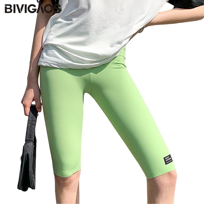 BIVIGAOS 2020 Summer Patch Biker Shorts Thin High Elasticity Plus Size Women's Knee Short Light Bright Color Sharkskin Shorts