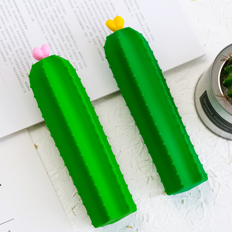 Creative Cactus Pencil Bag Special-shaped Silicone Pencil Bag,creative Large Capacity Student Cactus Zipper Pencil Bag