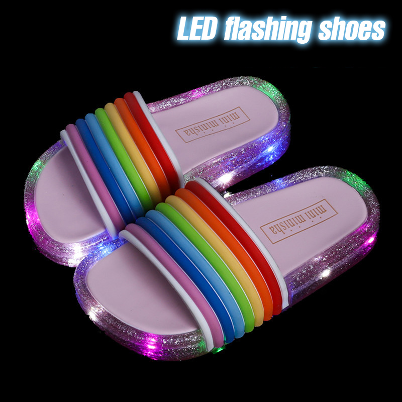 ULKNN Shoes For Baby LED Flashing Shoes Girls Slippers Outdoor Kids Princess Shoes Summer Children Slippers Rainbow Sandals