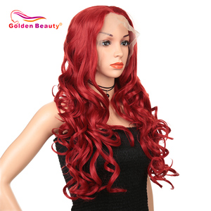 Image 2 - Synthetic Lace Front Wig For Black/White Women Long Ombre Body Wave Wig Red Brown Pink 613 High Temperature Fiber Golden Beauty