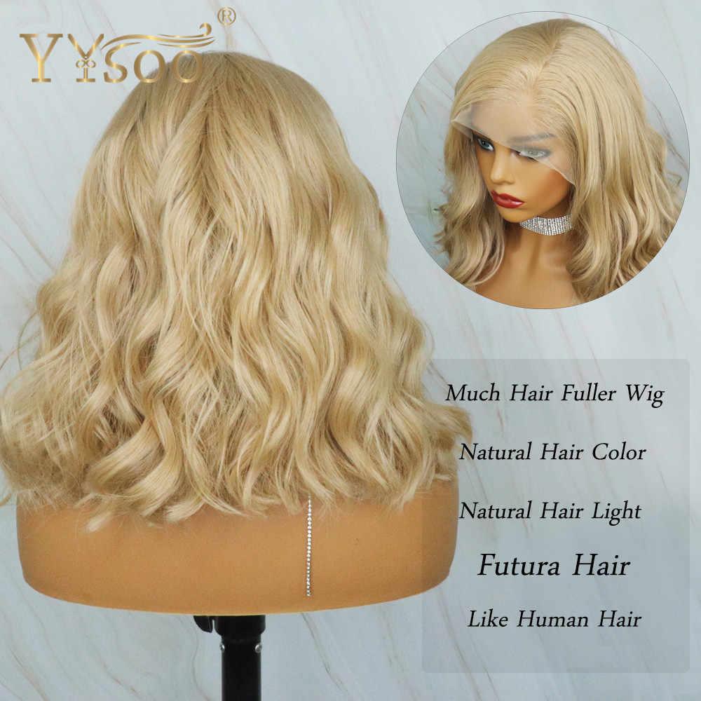 YYsoo-peluca frontal de encaje sintético de cuerpo de Color ondulado, pelucas para mujer de uso diario, sin pegamento, de 13x6, disponible en rubio y Bob