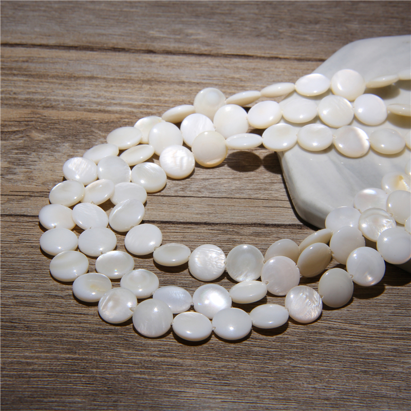 Natural White Shell Beads Round Mother of Pearl Coin Beads for Jewelry Making Bracelet Necklace Accessries DIY Beads 15'' Strand