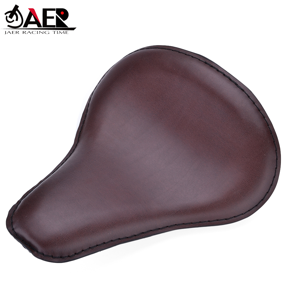JAER Motorbike Motorcycle Leather Vintage Solo Slim Seat Large Pad Mount For Harley Sportster Custom Bobber Chopper Motocross