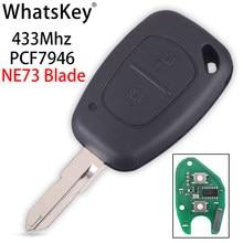 Whatskey 2 botão remoto chave 433mhz id46 pcf7946 chip para vauxhall/opel/renault vivaro trafic mestre clio cênica movano kangoo