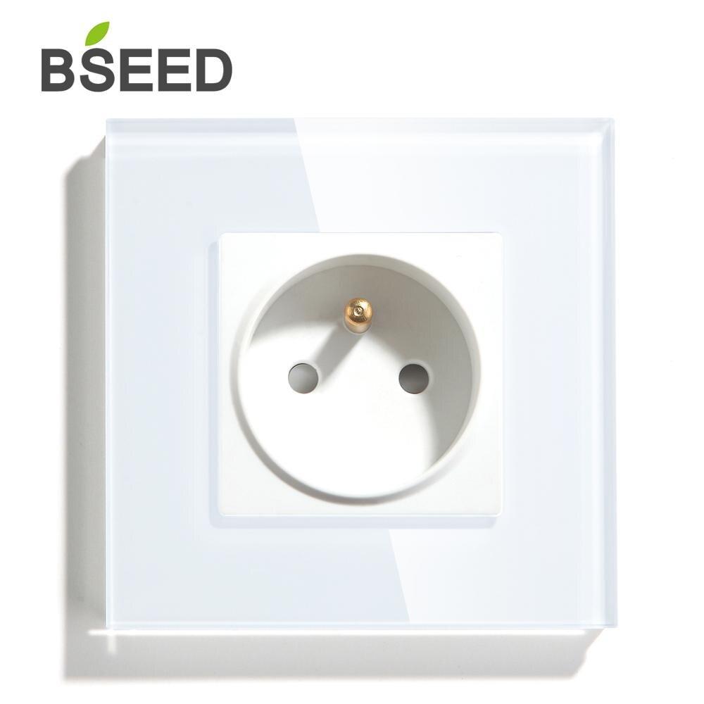 BSEED французская стандартная электрическая настенная розетка, 3 цвета, однокристальная панель, электрическая розетка 110-250 В