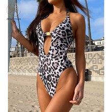 Peachtan halter monokini leopardo impressão de uma peça maiô feminino recorte roupa de banho feminino bandagem maiô sem costas