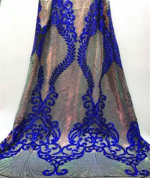 Royal Blue Sequins Lace Fabric High quality French Tulle Mesh Embroidered Lace Nigeria Wedding Dress Fabric JYA53-1