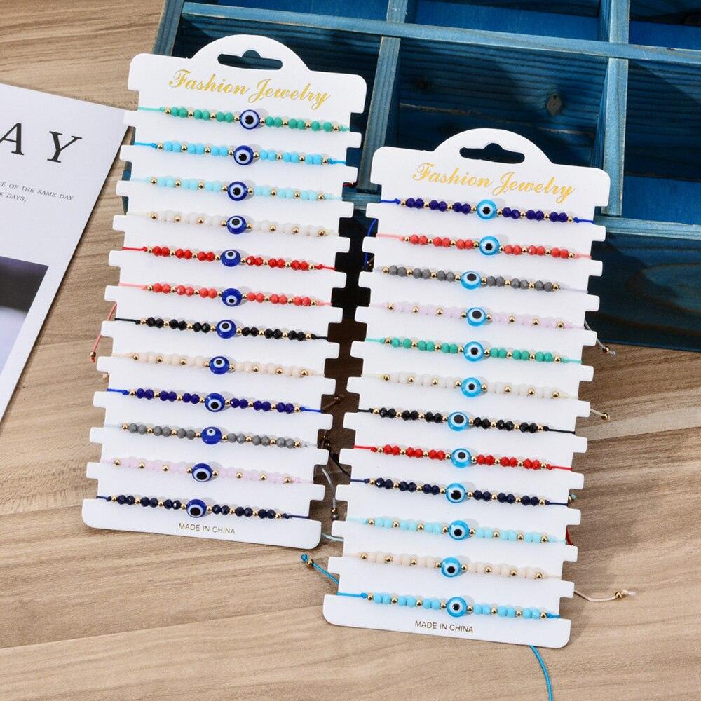 12pcs/set Turkey Blue Evil Eye Bracelet Women Handmade Woven Rope Chain Crystal Beads Bracelets Girl Birthday Party Jewelry Gift