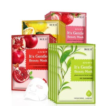 12pcs Organic Fruit Matcha Lemon Pomegranate Strawberry Vitamin C Sheet Mask Anti-Aging Brightening Hydrating Face Mask