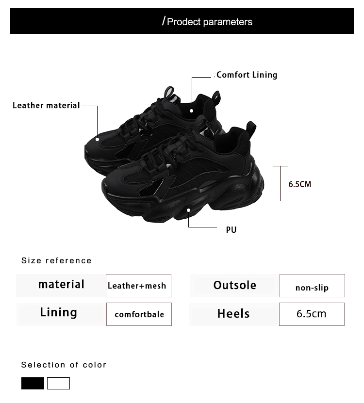 Women's Lace up Sneakers Black chunky Platform White Casual Leather breathable Fashion All-match Female Ladies Sports Sneakers