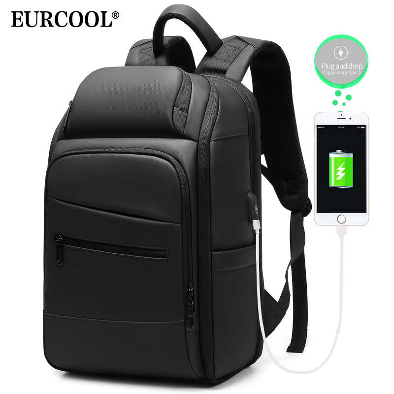 EURCOOL Business Travel Backpack Fit 15.6 inch Laptop Bags Male Mochila Water Repellent Fashion Backpack 2019 NEW n1003