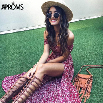 Aproms Sweet Pleated Tube Tunic Maxi Dress Red Floral Off Shoulder High Split Beach Dress Summer 2020 Boho Cool Girls Sundresses 1