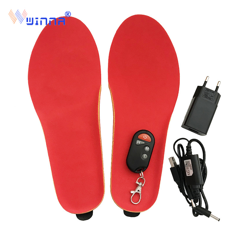 (Russia Warehouse) Velvet Electric Heated Insoles With Battery Height Increase Insole Winter Foot Warmer For Ski Hiking Riding