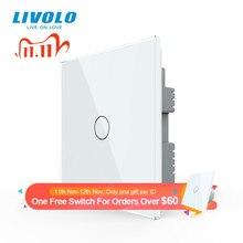 Livolo B6 UK standard 1way ścienny włącznik dotykowy światła, biały szklany Panel, zdalne sterowanie bezprzewodowe przełącznik, kontrola czujnika dotykowego