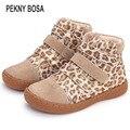 Детские леопардовые ботильоны Pekny bosa  кожаные ботинки-босички для маленьких девочек и мальчиков на весну-осень  25-35
