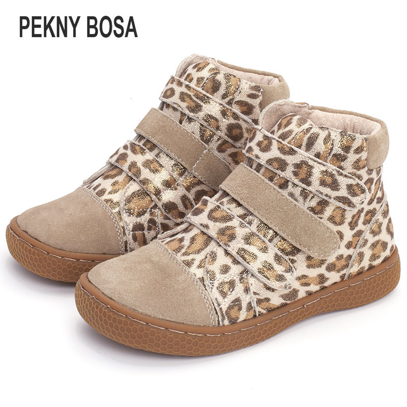 Pekny Bosa Brand Kids Leopard Ankle Boots Child Leather Barefoot Shoes Toddler Girls And Boys Shoes For Spring Autumn 25-35