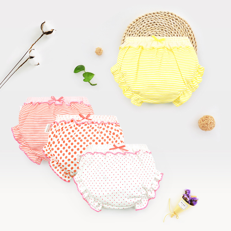 Pure Cotton Baby Girls Panties Kids Girl Underwear Baby Boy Briefs Fashion Bow Dot Stripe Baby Short Underpants Infant Knickers