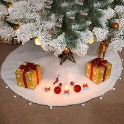 60 см белая Рождественская елка юбка основа искусственный мех Рождественский коврик для пола украшения Декор украшения основа коврик покры...