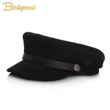 New Fashion Baby Hat for Girls Boys Flat Top Baby Cap Kids Hat Wool Autumn Winter Military Sailor Hat for Children Hats 51/53