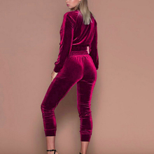 CNYWomen Hoodies Sweatshirt Pants Velvet Tracksuit Midriff Zipper 2 Pieces Set Smooth Female Cropped Top Pullover Trousers Suits