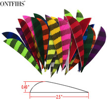 50PCS ONTFIHS New  Archery Fletches 2.5 Striped One Side Parabol Arrow Feather Fletching - WD Right Wing