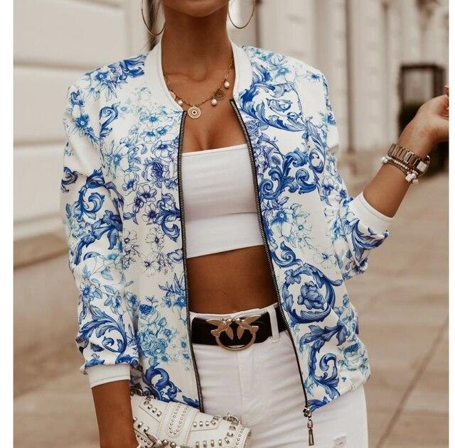 Women s Printed Zipper Autumn Jacket Coats Plus Size Long Sleeve Stand Vintage Jackets Female Fashion Streetwear Lady Tops